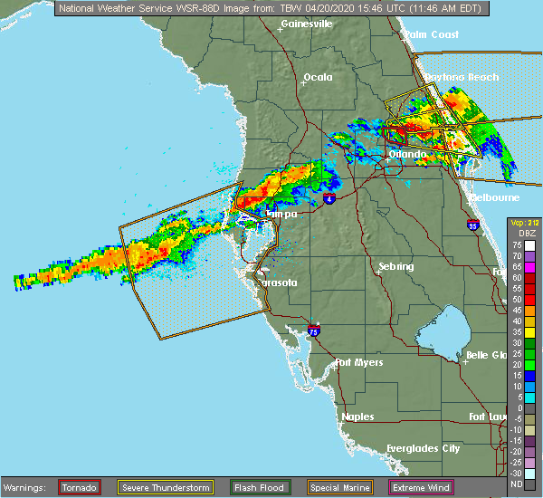 Radar Image for Severe Thunderstorms near Cheval, FL at 4/20/2020 11:51 AM EDT