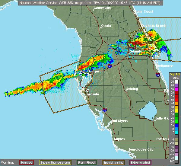 Radar Image for Severe Thunderstorms near East Lake, FL at 4/20/2020 11:51 AM EDT