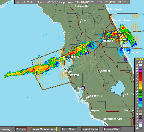 Radar Image for Severe Thunderstorms near Four Corners, FL at 4/20/2020 12:12 PM EDT