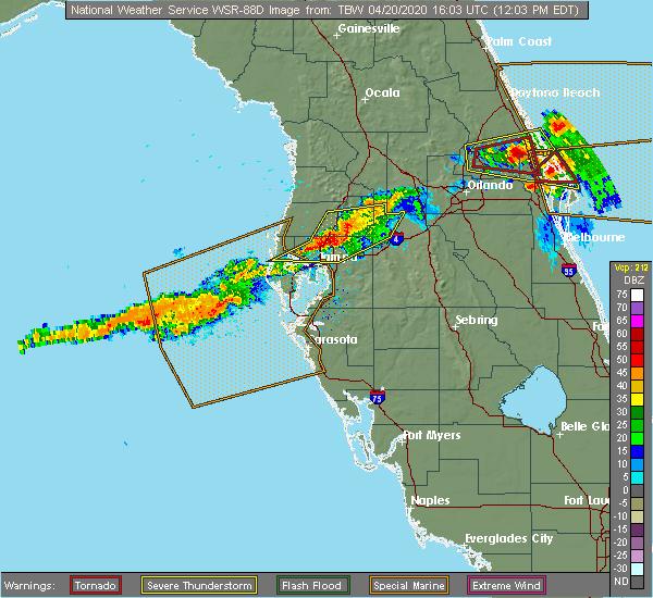 Radar Image for Severe Thunderstorms near Citrus Park, FL at 4/20/2020 12:12 PM EDT