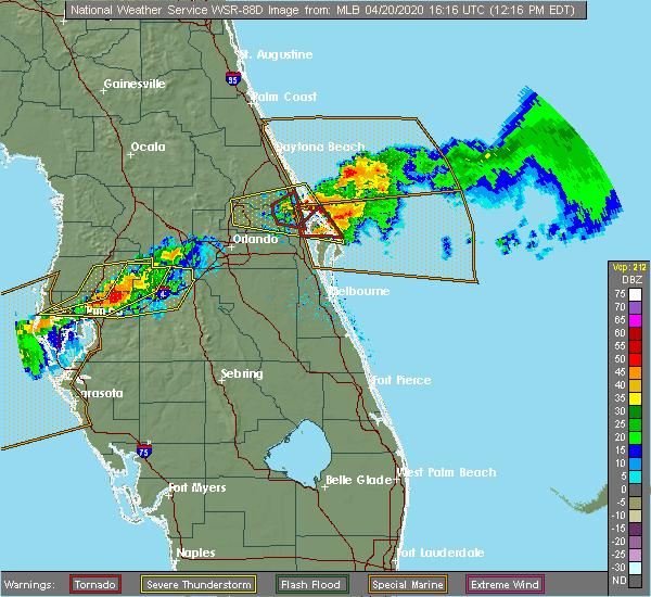 Radar Image for Severe Thunderstorms near Oak Hill, FL at 4/20/2020 12:19 PM EDT