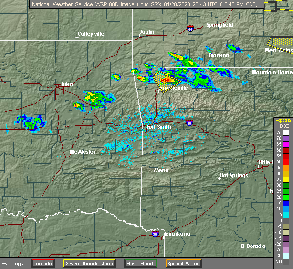 Radar Image for Severe Thunderstorms near Bethel Heights, AR at 4/20/2020 6:46 PM CDT