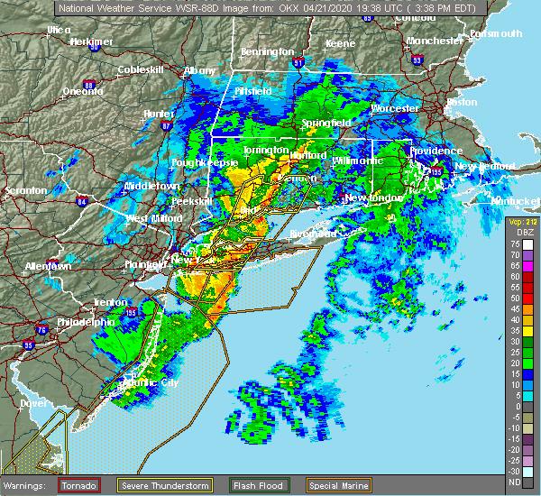 Radar Image for Severe Thunderstorms near Riverside, NY at 4/21/2020 3:43 PM EDT