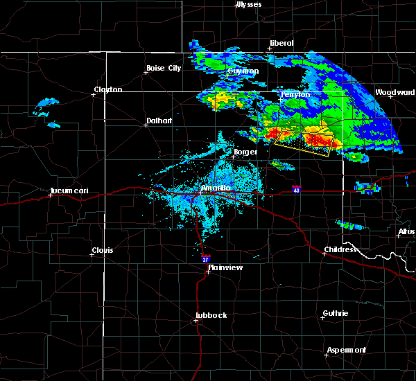 Radar Image for Severe Thunderstorms near Canadian, TX at 4/21/2020 7:09 PM CDT