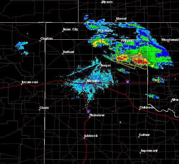 Radar Image for Severe Thunderstorms near Canadian, TX at 4/21/2020 7:14 PM CDT