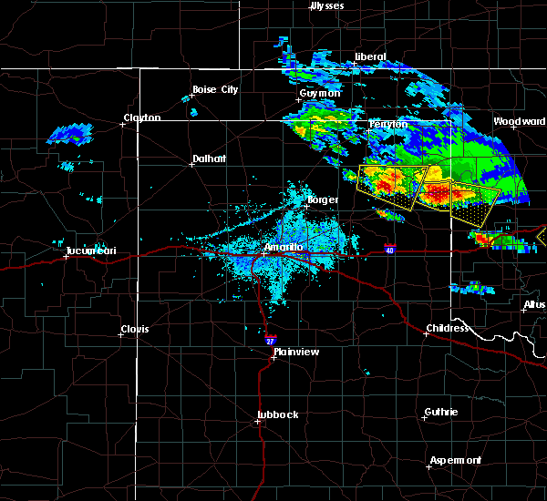 Radar Image for Severe Thunderstorms near Canadian, TX at 4/21/2020 7:33 PM CDT