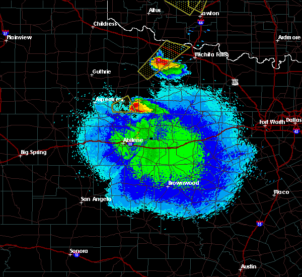 Radar Image for Severe Thunderstorms near Stamford, TX at 4/21/2020 10:54 PM CDT