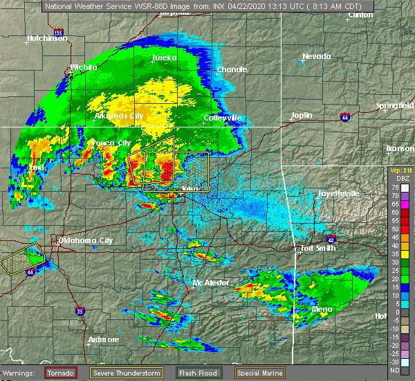 Radar Image for Severe Thunderstorms near Fairfax, OK at 4/22/2020 8:20 AM CDT