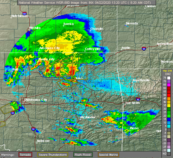 Radar Image for Severe Thunderstorms near Vera, OK at 4/22/2020 8:26 AM CDT