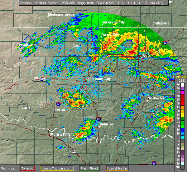 Radar Image for Severe Thunderstorms near Kendrick, OK at 4/22/2020 9:24 AM CDT