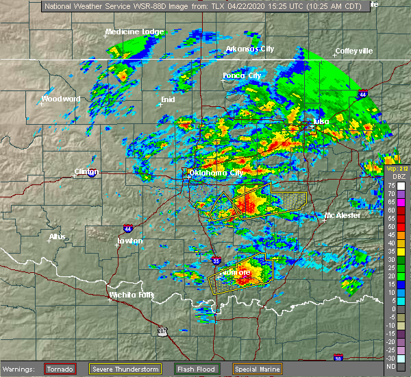 Radar Image for Severe Thunderstorms near Wetumka, OK at 4/22/2020 10:27 AM CDT