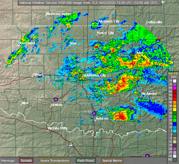 Radar Image for Severe Thunderstorms near Wetumka, OK at 4/22/2020 11:01 AM CDT