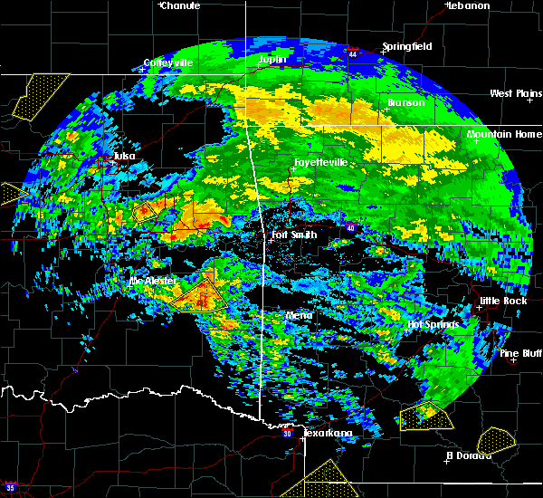 Radar Image for Severe Thunderstorms near Red Oak, OK at 4/22/2020 12:40 PM CDT