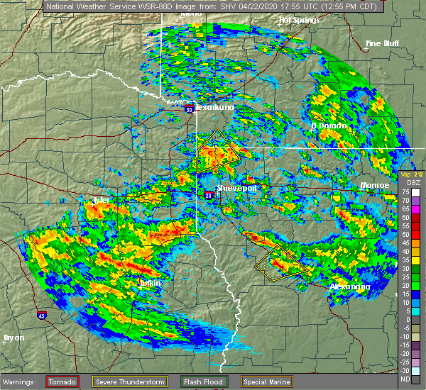 Radar Image for Severe Thunderstorms near Plain Dealing, LA at 4/22/2020 12:57 PM CDT