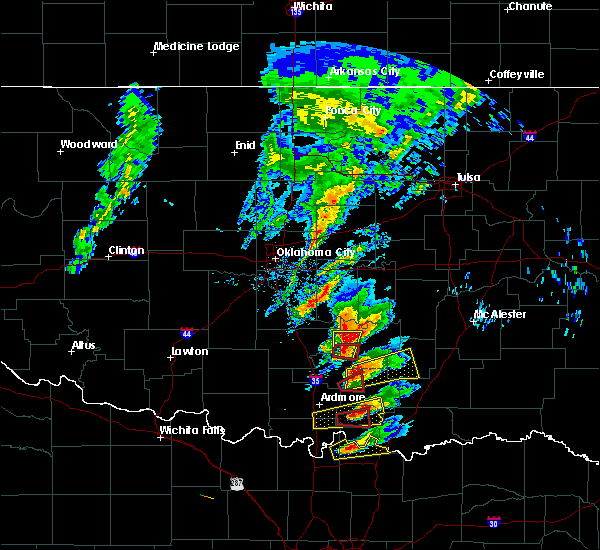 Radar Image for Severe Thunderstorms near Stonewall, OK at 4/22/2020 4:58 PM CDT