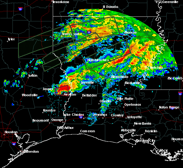 Radar Image for Severe Thunderstorms near Newton, TX at 4/22/2020 7:37 PM CDT