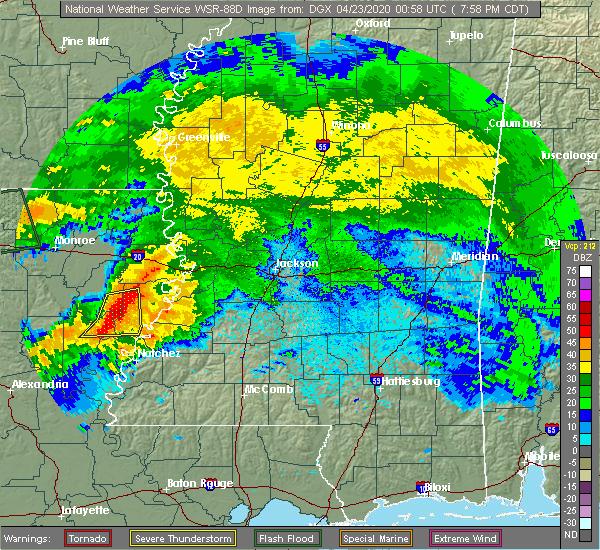 Radar Image for Severe Thunderstorms near Wisner, LA at 4/22/2020 8:07 PM CDT
