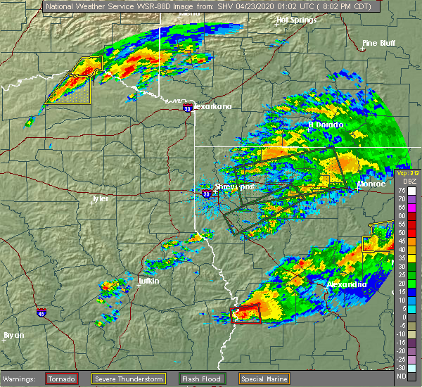 Radar Image for Severe Thunderstorms near Detroit, TX at 4/22/2020 8:11 PM CDT