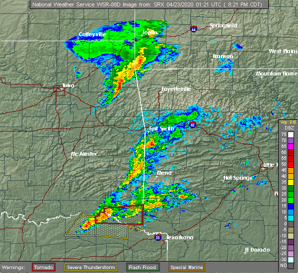 Radar Image for Severe Thunderstorms near De Queen, AR at 4/22/2020 8:28 PM CDT