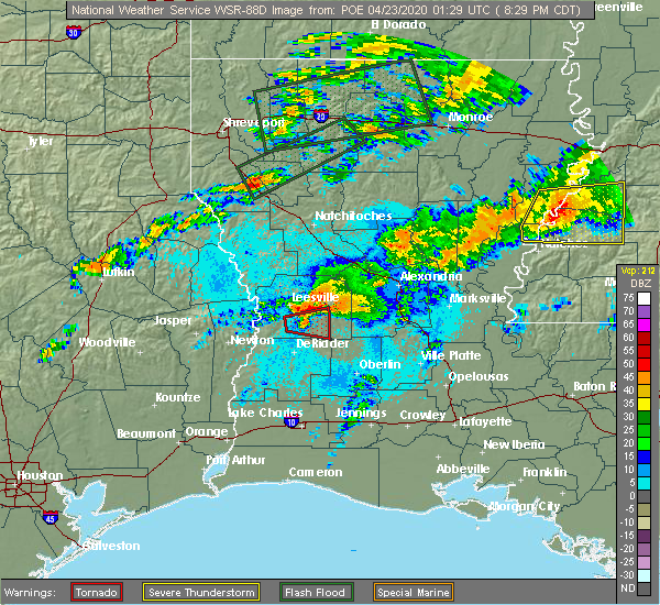 Radar Image for Severe Thunderstorms near Forest Hill, LA at 4/22/2020 8:35 PM CDT