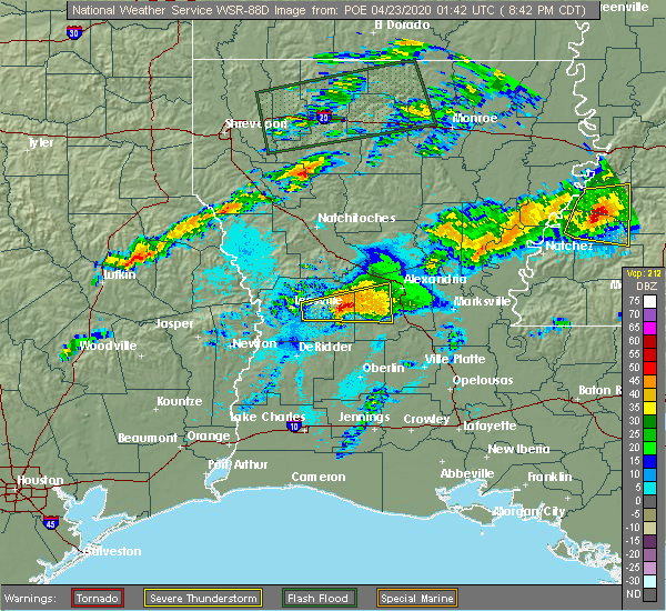 Radar Image for Severe Thunderstorms near Forest Hill, LA at 4/22/2020 8:52 PM CDT