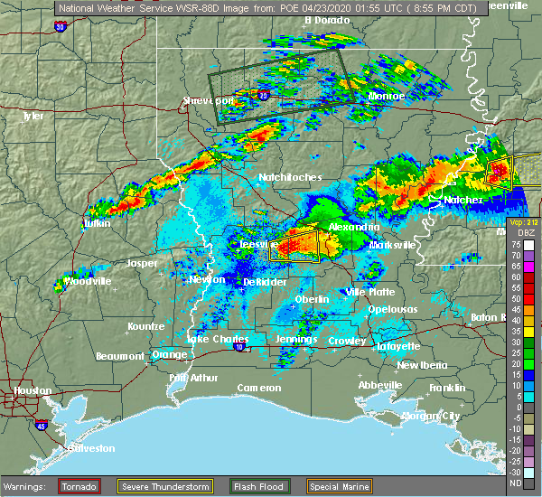 Radar Image for Severe Thunderstorms near Forest Hill, LA at 4/22/2020 9:07 PM CDT
