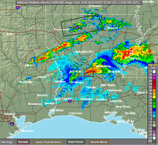 Radar Image for Severe Thunderstorms near Forest Hill, LA at 4/22/2020 9:19 PM CDT