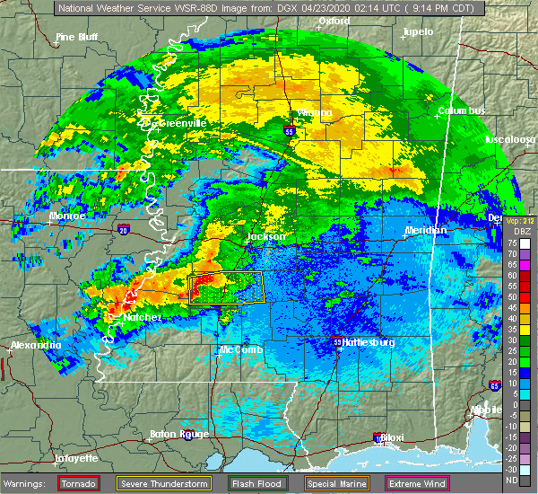 Radar Image for Severe Thunderstorms near Crystal Springs, MS at 4/22/2020 9:22 PM CDT