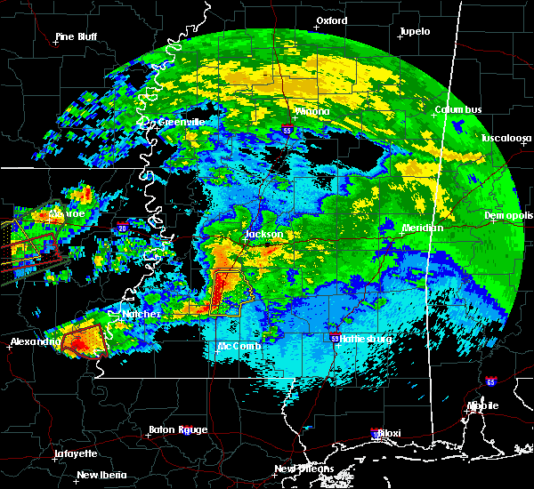 Radar Image for Severe Thunderstorms near New Hebron, MS at 4/22/2020 10:24 PM CDT