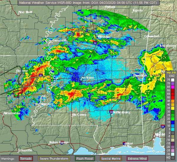 Radar Image for Severe Thunderstorms near Wisner, LA at 4/23/2020 12:03 AM CDT