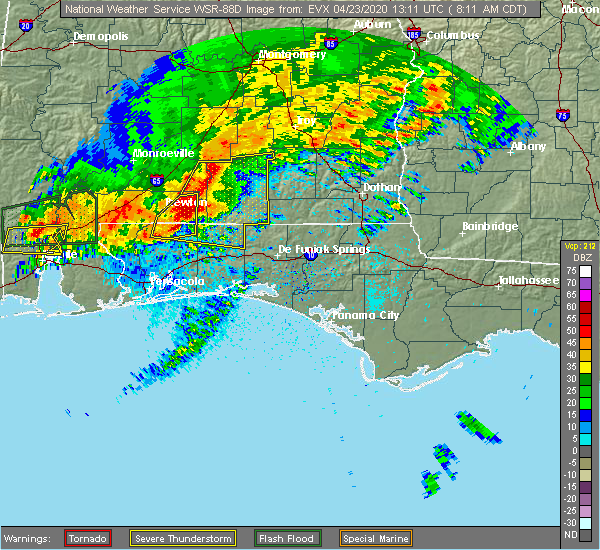Radar Image for Severe Thunderstorms near Whitfield, FL at 4/23/2020 8:19 AM CDT