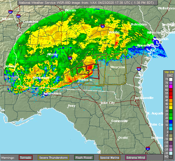 Radar Image for Severe Thunderstorms near Lakeland, GA at 4/23/2020 1:41 PM EDT
