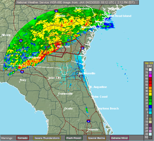 Radar Image for Severe Thunderstorms near Nahunta, GA at 4/23/2020 2:18 PM EDT