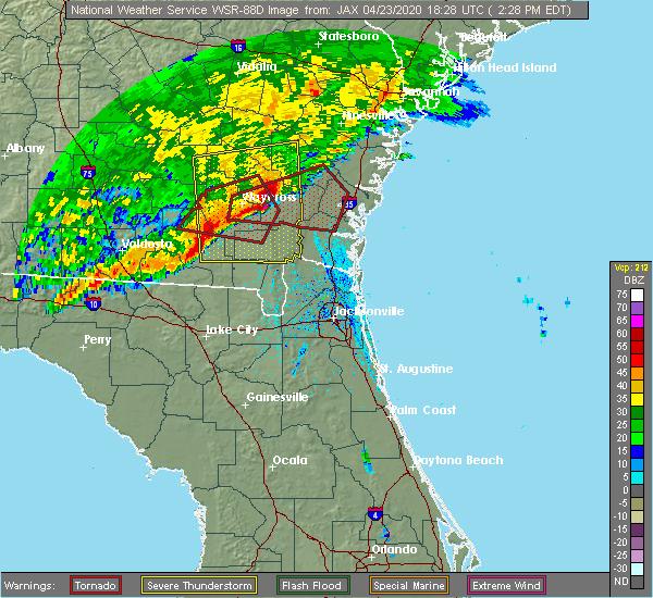 Radar Image for Severe Thunderstorms near Nahunta, GA at 4/23/2020 2:33 PM EDT