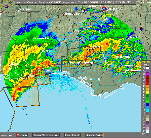 Radar Image for Severe Thunderstorms near Slocomb, AL at 4/23/2020 2:13 PM CDT