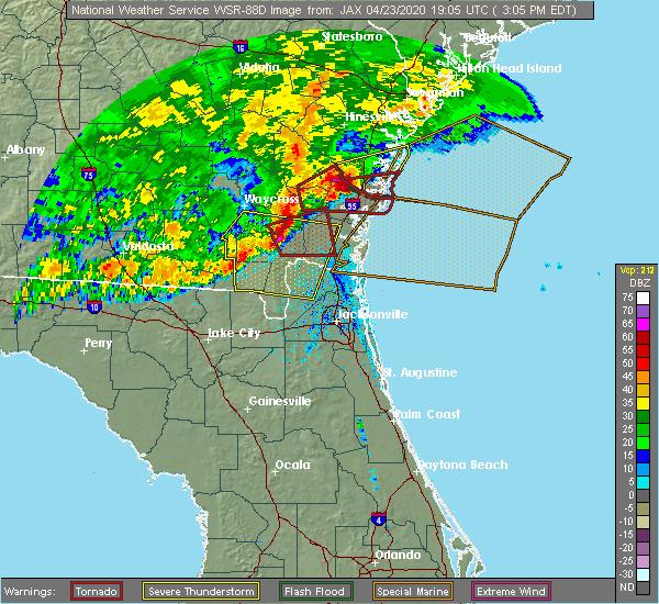 Radar Image for Severe Thunderstorms near Woodbine, GA at 4/23/2020 3:13 PM EDT