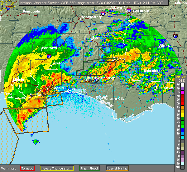 Radar Image for Severe Thunderstorms near Jacob City, FL at 4/23/2020 2:18 PM CDT