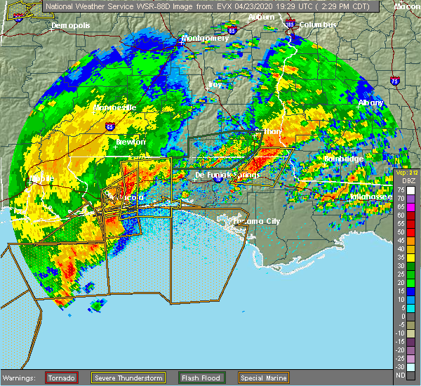 Radar Image for Severe Thunderstorms near Midway, FL at 4/23/2020 2:31 PM CDT