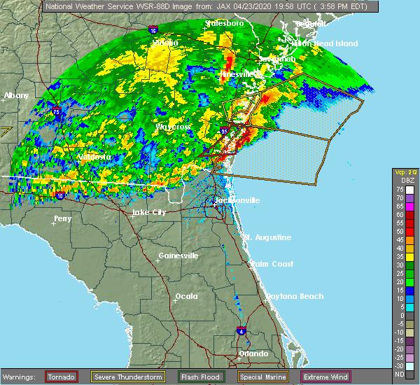 Radar Image for Severe Thunderstorms near St. Simons, GA at 4/23/2020 4:05 PM EDT