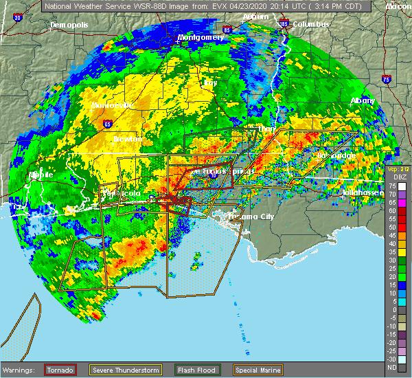 Radar Image for Severe Thunderstorms near Ponce de Leon, FL at 4/23/2020 3:16 PM CDT