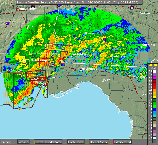 Radar Image for Severe Thunderstorms near Gretna, FL at 4/23/2020 4:09 PM CDT