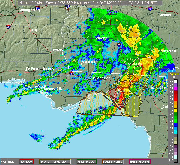 Radar Image for Severe Thunderstorms near Perry, FL at 4/23/2020 8:20 PM EDT