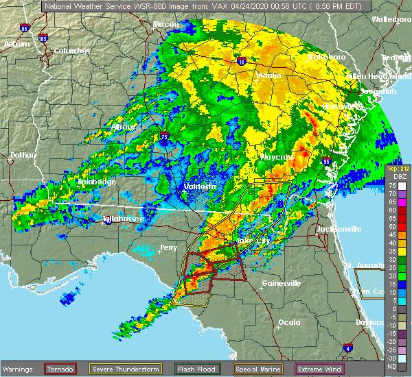 Radar Image for Severe Thunderstorms near Lake City, FL at 4/23/2020 8:59 PM EDT