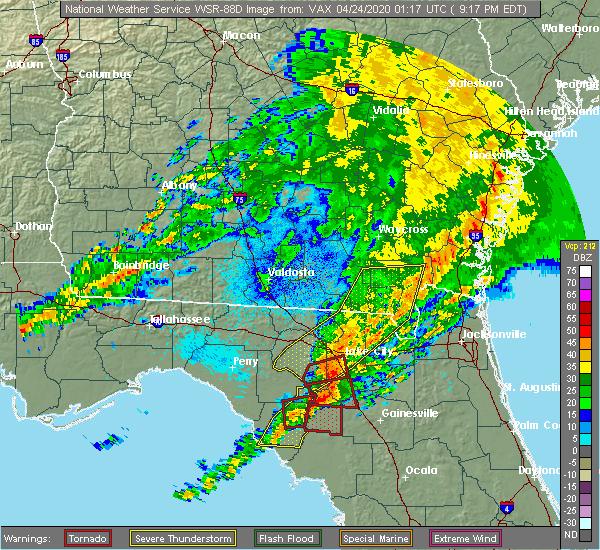 Radar Image for Severe Thunderstorms near Lake City, FL at 4/23/2020 9:22 PM EDT