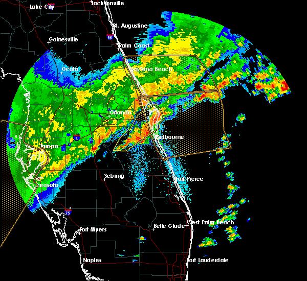 Radar Image for Severe Thunderstorms near Oak Hill, FL at 4/24/2020 7:32 AM EDT