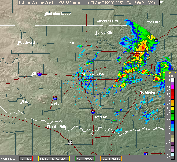 Radar Image for Severe Thunderstorms near Wetumka, OK at 4/24/2020 5:54 PM CDT