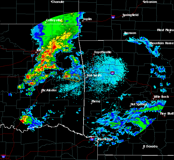 Radar Image for Severe Thunderstorms near Cowlington, OK at 4/24/2020 6:22 PM CDT