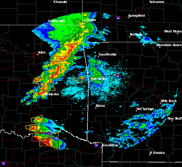 Radar Image for Severe Thunderstorms near Checotah, OK at 4/24/2020 7:02 PM CDT