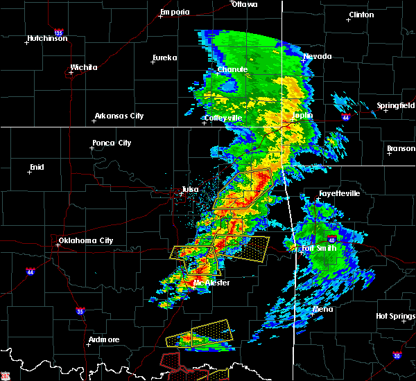 Radar Image for Severe Thunderstorms near Flint Creek, OK at 4/24/2020 7:06 PM CDT