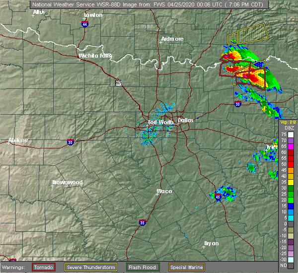 Radar Image for Severe Thunderstorms near Paris, TX at 4/24/2020 7:12 PM CDT